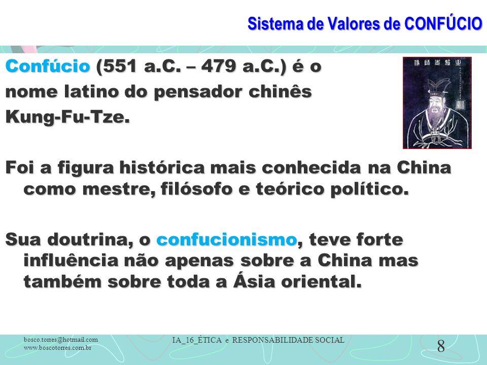 Sistema de Valores de CONFÚCIO Confúcio (551 a.C. – 479 a.C.) é o nome latino do pensador chinês Kung-Fu-Tze. Foi a figura histórica mais conhecida na