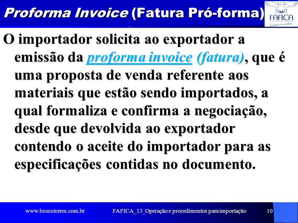 FAFICA_13_Operação e procedimentos para importação11 Classificação de mercadorias A classificação fiscal de mercadorias é importante para determinar os tributos envolvidos nas operações de importação e exportação e controle estatístico e determinação do tratamento administrativo requerido para determinado produto.
