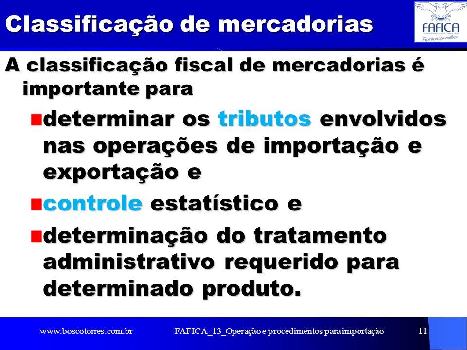 FAFICA_13_Operação e procedimentos para importação12 Classificação de mercadorias Nomenclatura Comum do Mercosul (NCM) Nomenclatura Comum do Mercosul (NCM) Nomenclatura da Associação Latino- Americana de Integração (Naladi) Nomenclatura da Associação Latino- Americana de Integração (Naladi) Sistema Harmonizado de Designação e Codificação de Mercadorias (SH) Sistema Harmonizado de Designação e Codificação de Mercadorias (SH) Com base nessas normas, é possível identificar as informações básicas para comercialização: incidência de tributos, incidência de tributos, contingenciamentos, contingenciamentos, inclusão em acordos internacionais, inclusão em acordos internacionais, normas administrativas e outros dados.