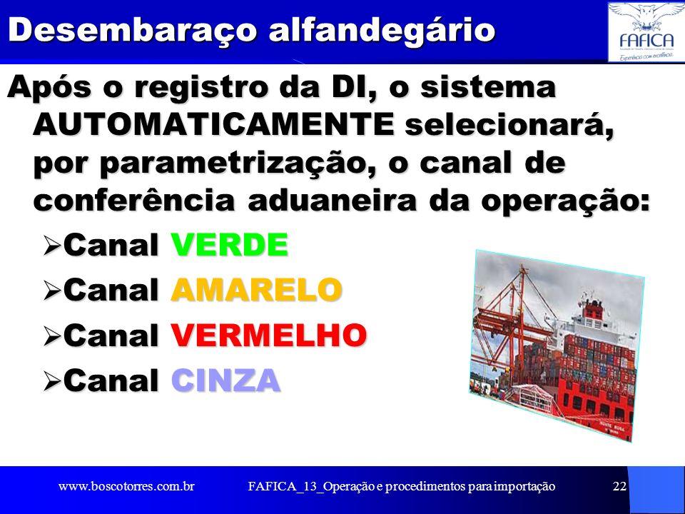 FAFICA_13_Operação e procedimentos para importação23 Canal VERDE Registro do desembaraço aduaneiro automático, significando que a mercadoria já está liberada para ser retirada de seu local de armazenamento.