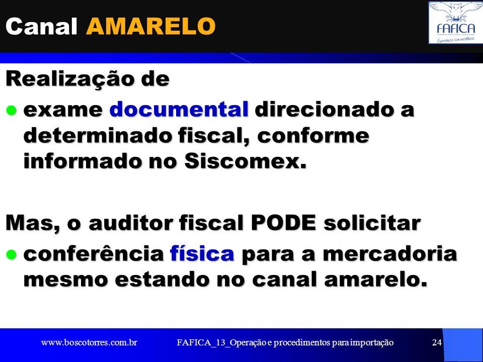 FAFICA_13_Operação e procedimentos para importação25 Canal VERMELHO Realização de exame documental e exame documental e verificação física da mercadoria.