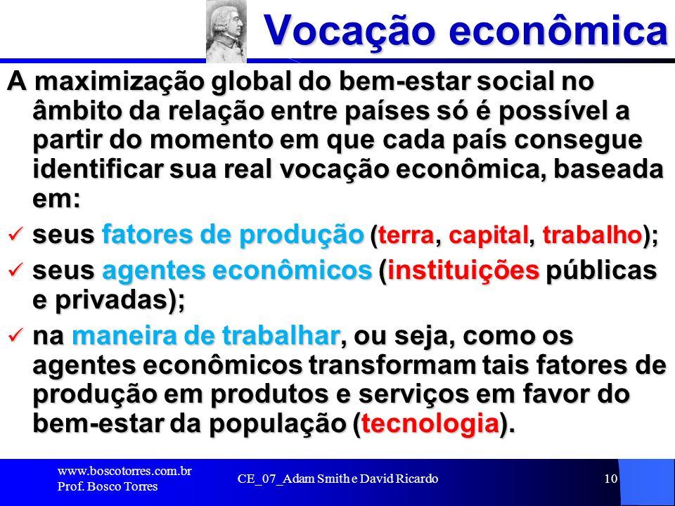 CE_07_Adam Smith e David Ricardo10 Vocação econômica A maximização global do bem-estar social no âmbito da relação entre países só é possível a partir