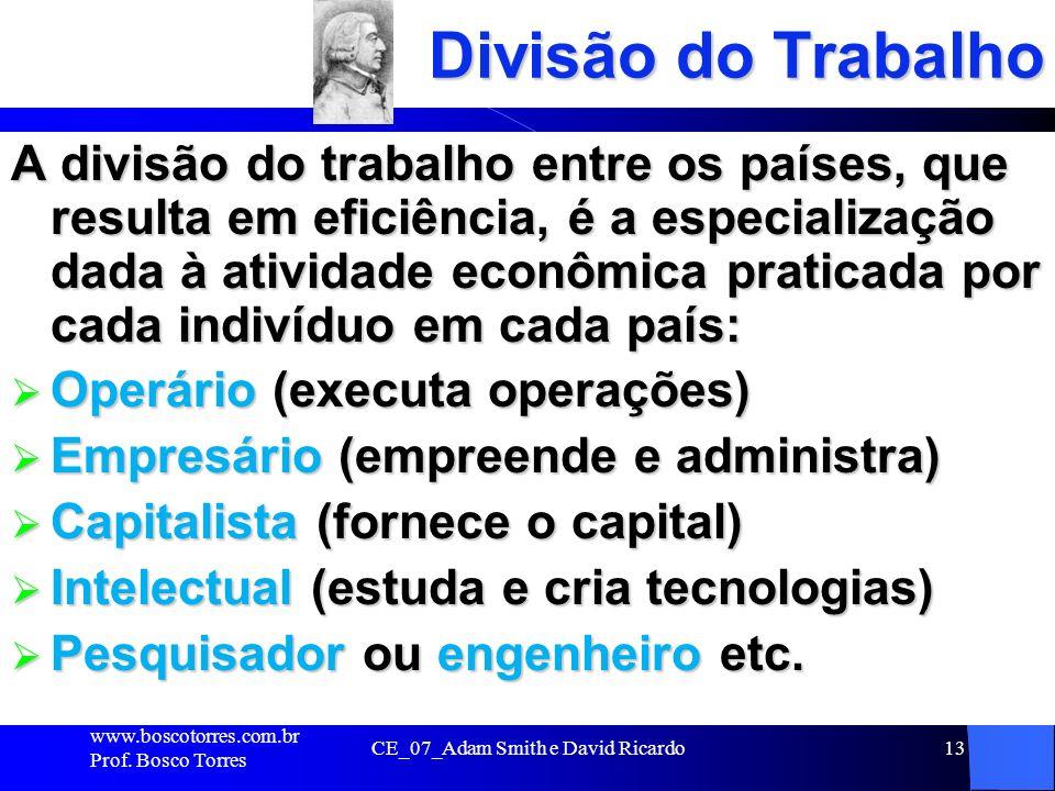 CE_07_Adam Smith e David Ricardo13 Divisão do Trabalho A divisão do trabalho entre os países, que resulta em eficiência, é a especialização dada à ati