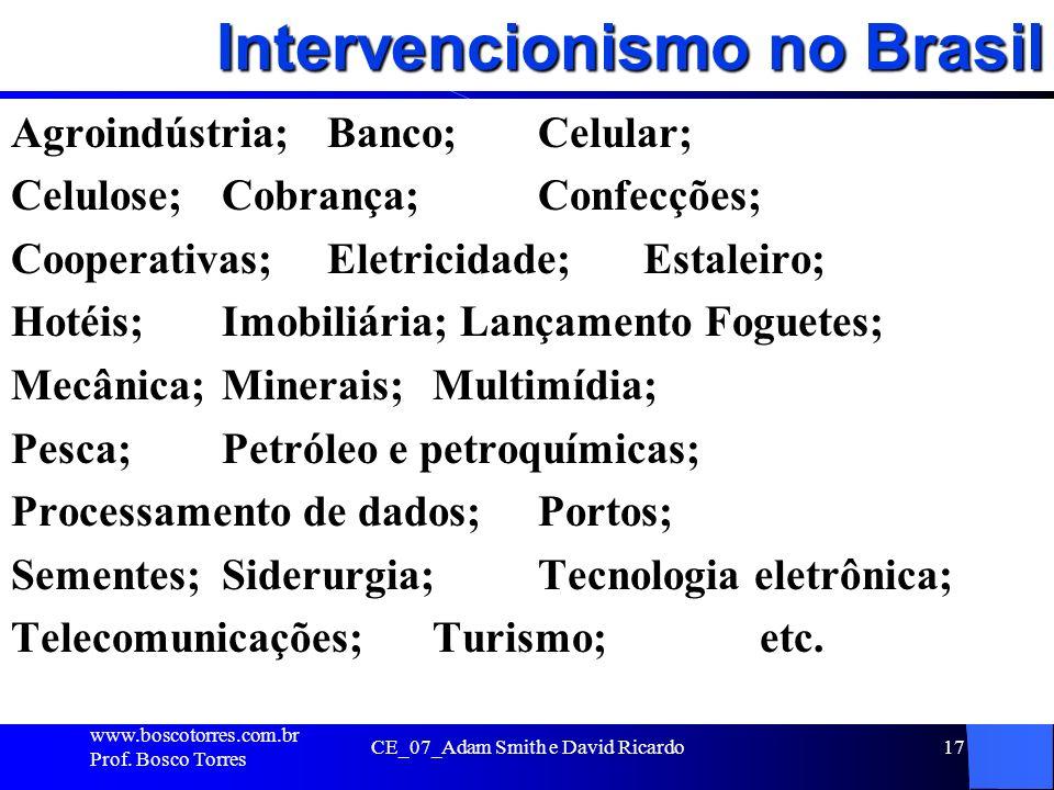 Intervencionismo no Brasil Agroindústria; Banco; Celular; Celulose; Cobrança; Confecções; Cooperativas; Eletricidade; Estaleiro; Hotéis; Imobiliária;