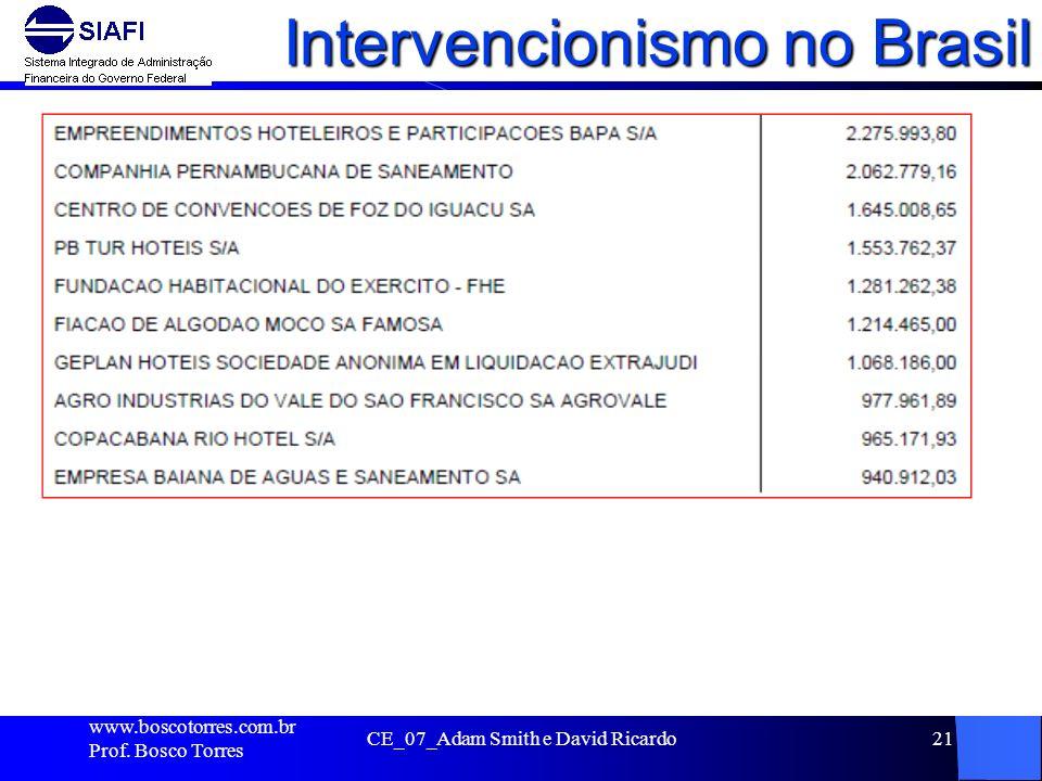 Intervencionismo no Brasil. www.boscotorres.com.br Prof. Bosco Torres CE_07_Adam Smith e David Ricardo21