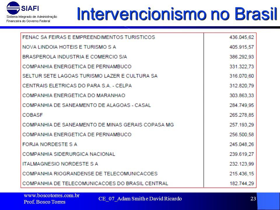 Intervencionismo no Brasil. www.boscotorres.com.br Prof. Bosco Torres CE_07_Adam Smith e David Ricardo23