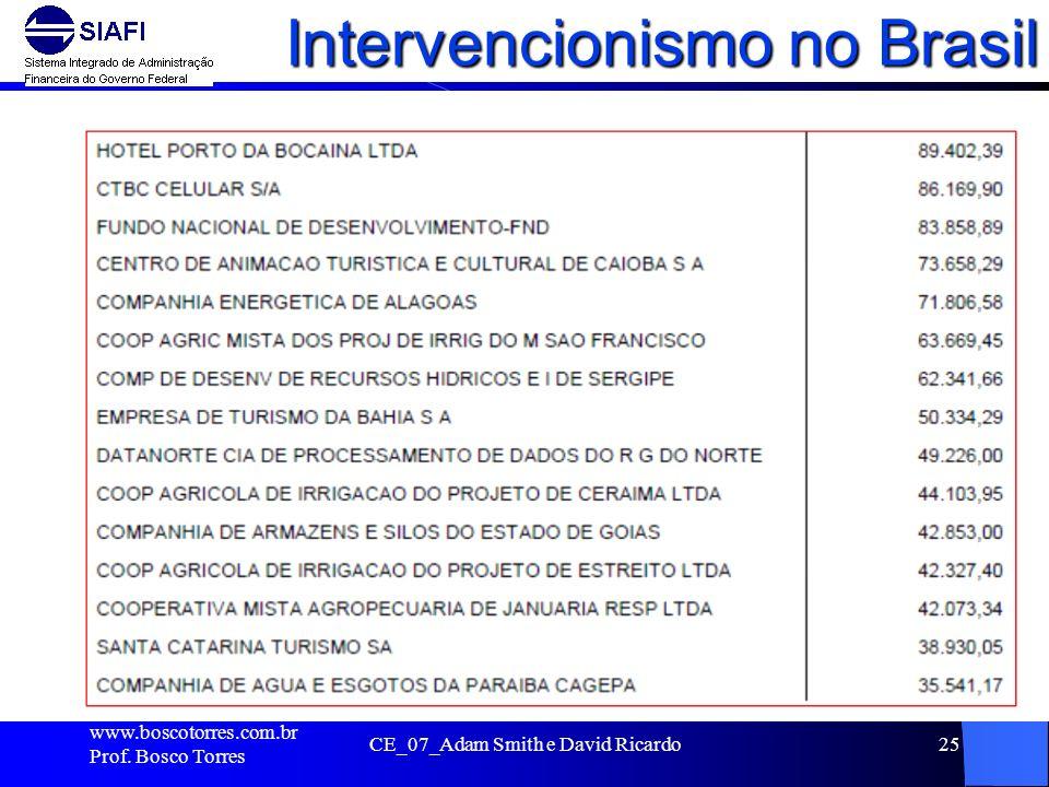 Intervencionismo no Brasil. www.boscotorres.com.br Prof. Bosco Torres CE_07_Adam Smith e David Ricardo25