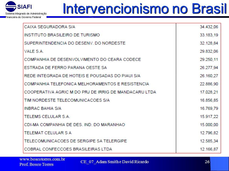 Intervencionismo no Brasil. www.boscotorres.com.br Prof. Bosco Torres CE_07_Adam Smith e David Ricardo26