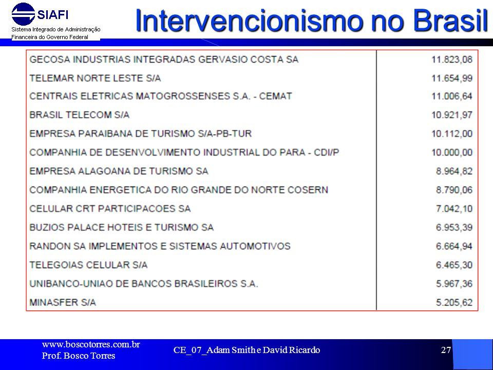 Intervencionismo no Brasil. www.boscotorres.com.br Prof. Bosco Torres CE_07_Adam Smith e David Ricardo27