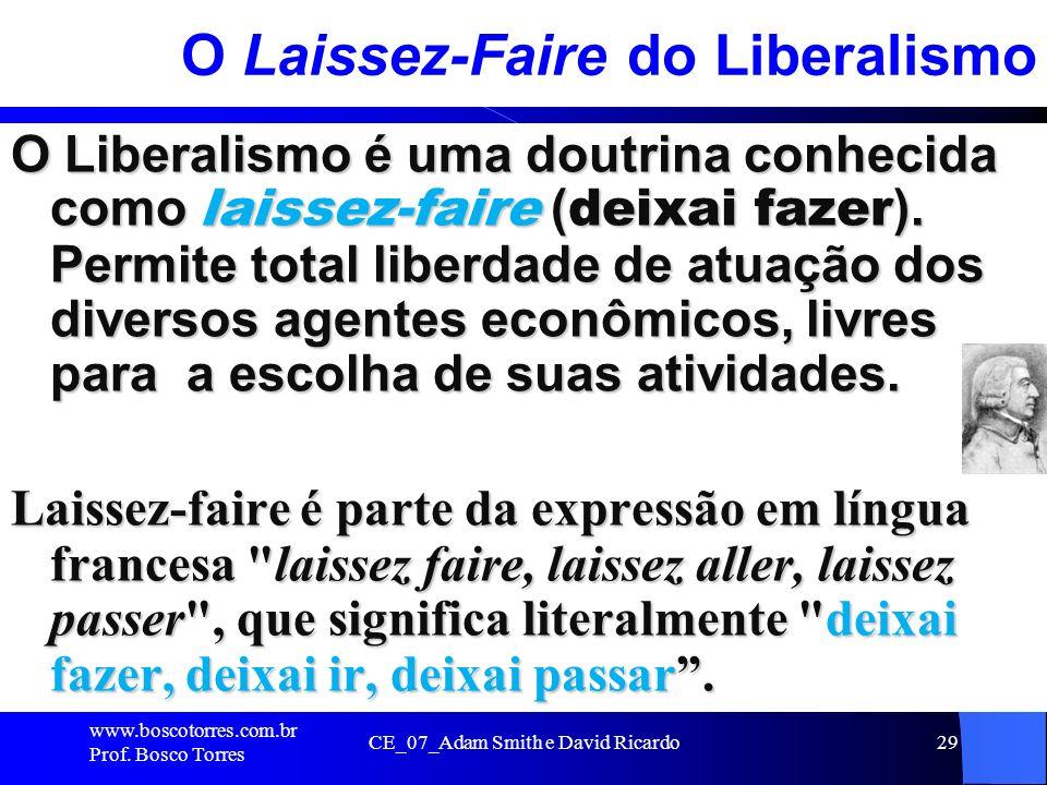 CE_07_Adam Smith e David Ricardo29 O Laissez-Faire do Liberalismo O Liberalismo é uma doutrina conhecida como laissez-faire ( deixai fazer ). Permite