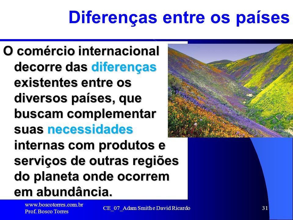 CE_07_Adam Smith e David Ricardo31 Diferenças entre os países O comércio internacional decorre das diferenças existentes entre os diversos países, que