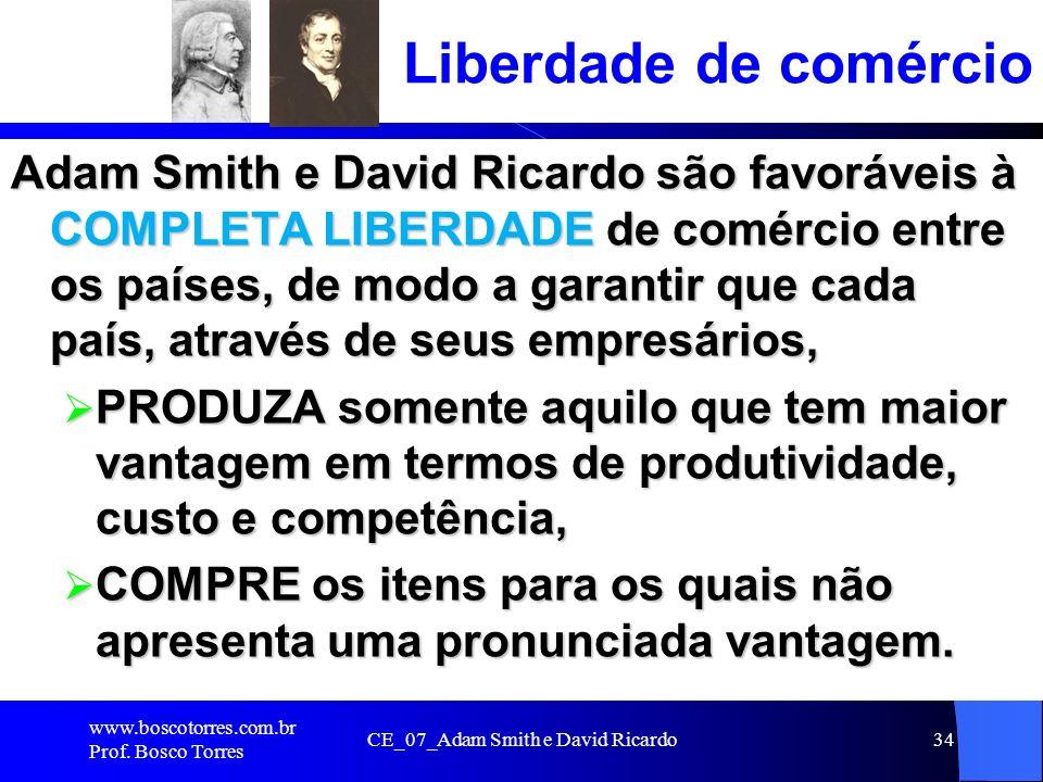 CE_07_Adam Smith e David Ricardo34 Liberdade de comércio Adam Smith e David Ricardo são favoráveis à COMPLETA LIBERDADE de comércio entre os países, d