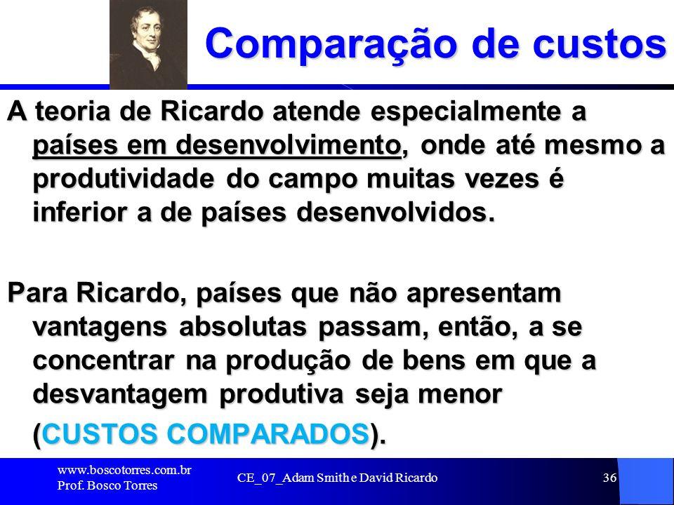 CE_07_Adam Smith e David Ricardo36 Comparação de custos A teoria de Ricardo atende especialmente a países em desenvolvimento, onde até mesmo a produti