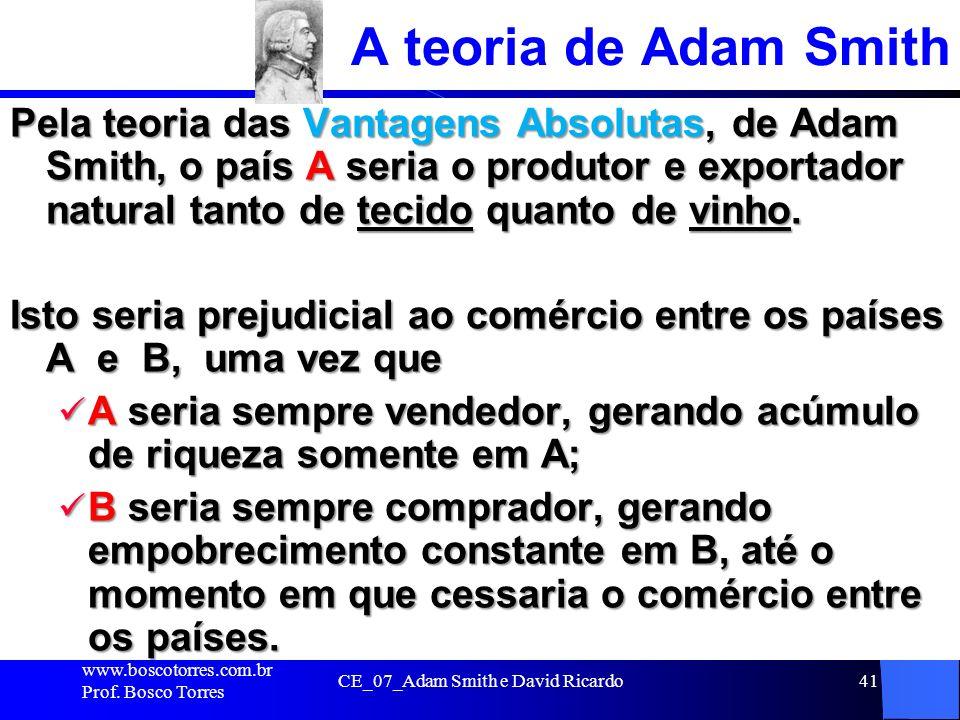 CE_07_Adam Smith e David Ricardo41 A teoria de Adam Smith Pela teoria das Vantagens Absolutas, de Adam Smith, o país A seria o produtor e exportador n