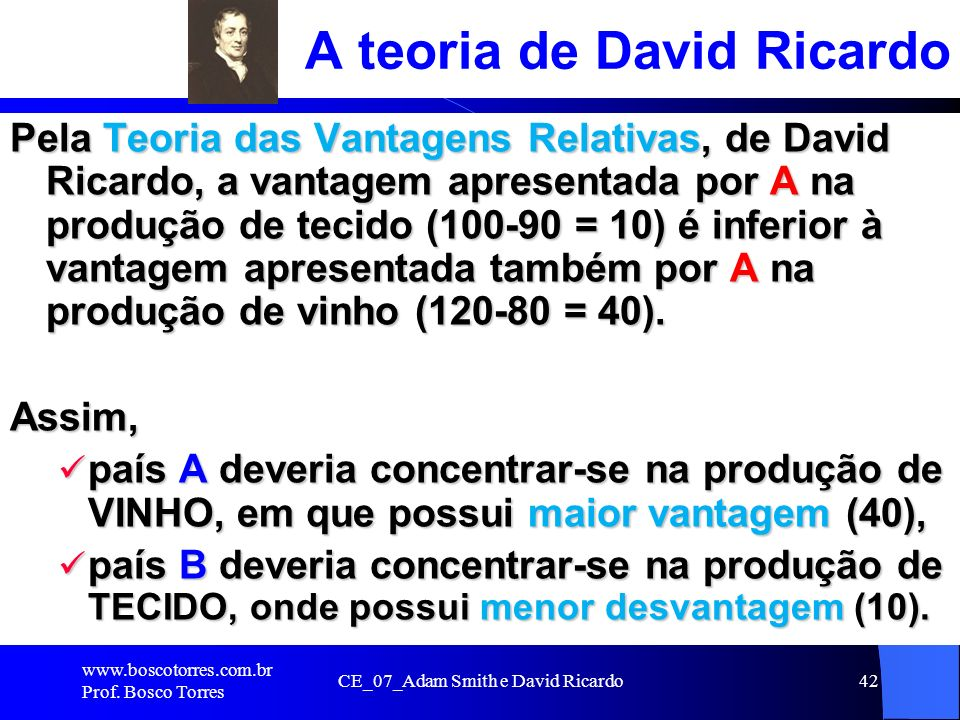 CE_07_Adam Smith e David Ricardo42 A teoria de David Ricardo Pela Teoria das Vantagens Relativas, de David Ricardo, a vantagem apresentada por A na pr