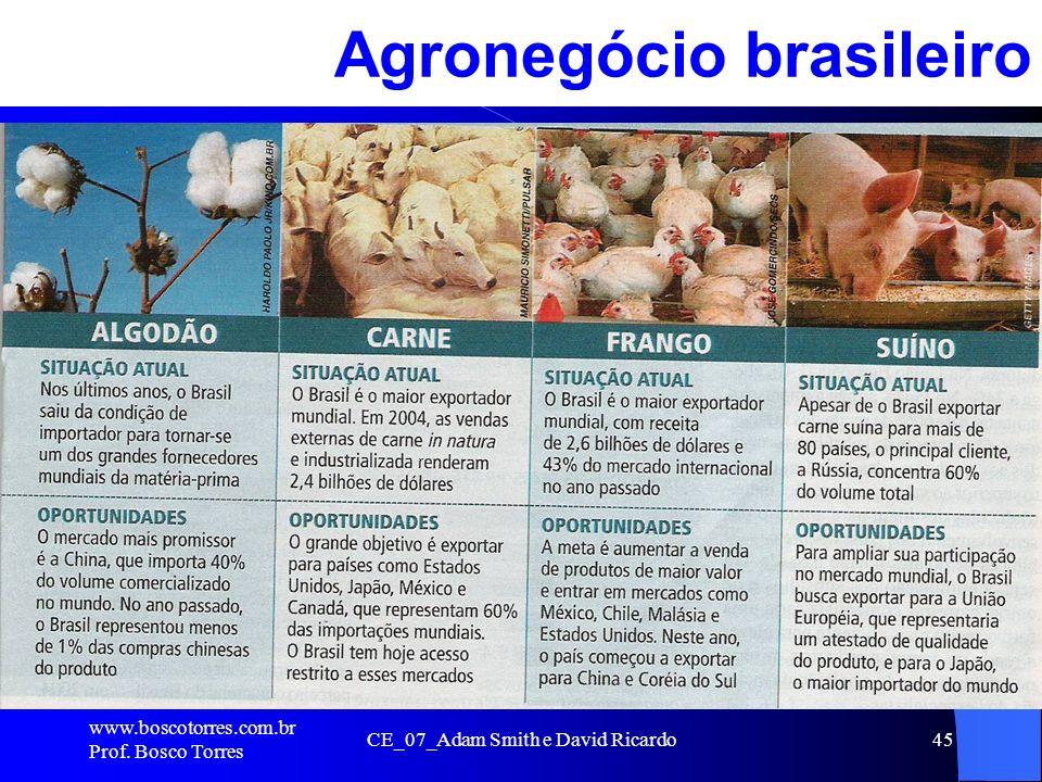 CE_07_Adam Smith e David Ricardo45 Agronegócio brasileiro. www.boscotorres.com.br Prof. Bosco Torres