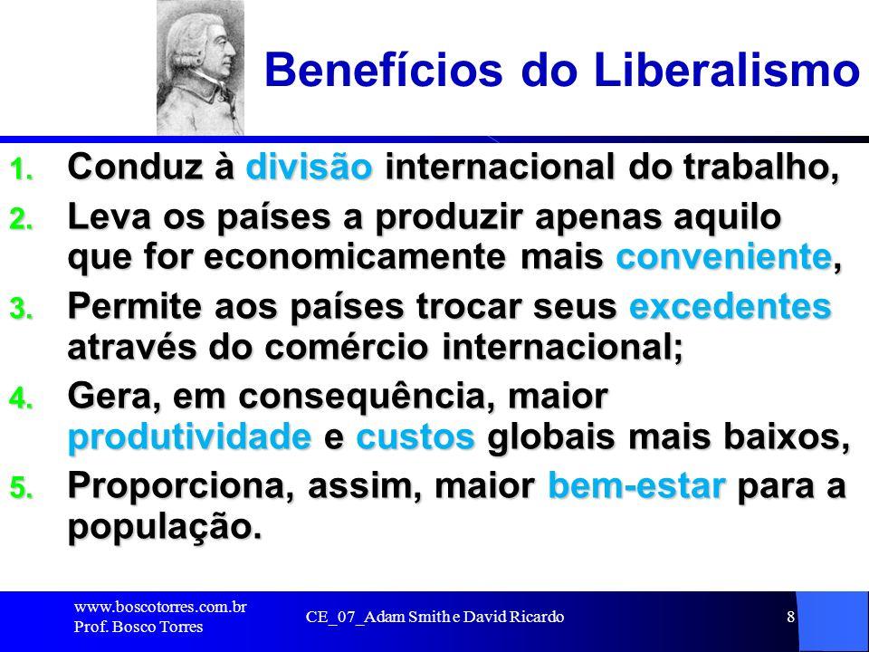 CE_07_Adam Smith e David Ricardo8 Benefícios do Liberalismo 1. Conduz à divisão internacional do trabalho, 2. Leva os países a produzir apenas aquilo