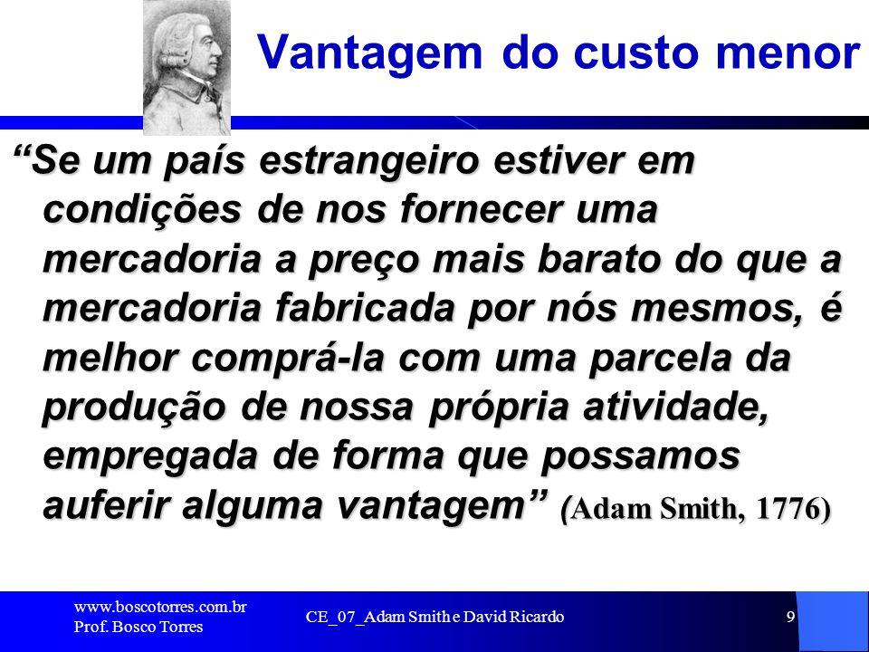 CE_07_Adam Smith e David Ricardo9 Vantagem do custo menor Se um país estrangeiro estiver em condições de nos fornecer uma mercadoria a preço mais bara