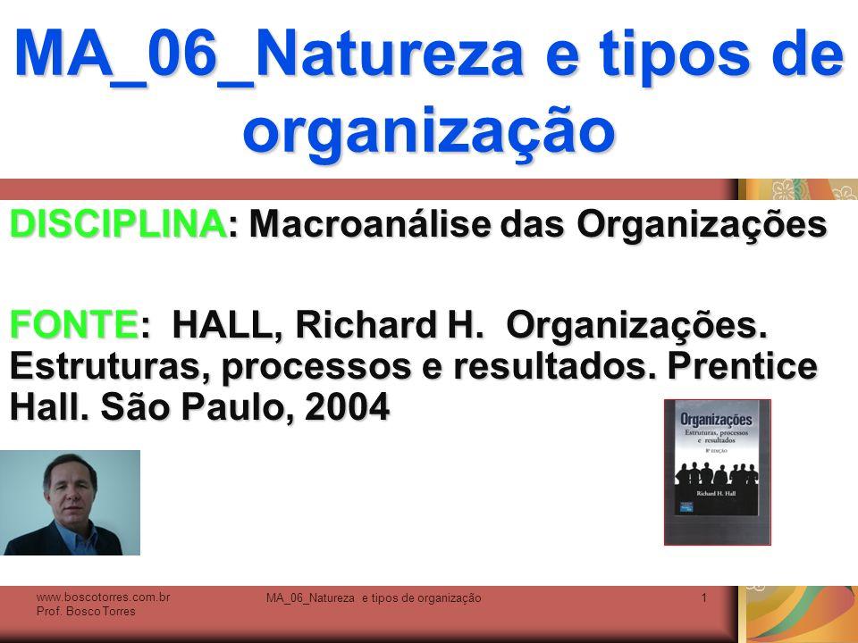 MA_06_Natureza e tipos de organização1 DISCIPLINA: Macroanálise das Organizações FONTE: HALL, Richard H. Organizações. Estruturas, processos e resulta