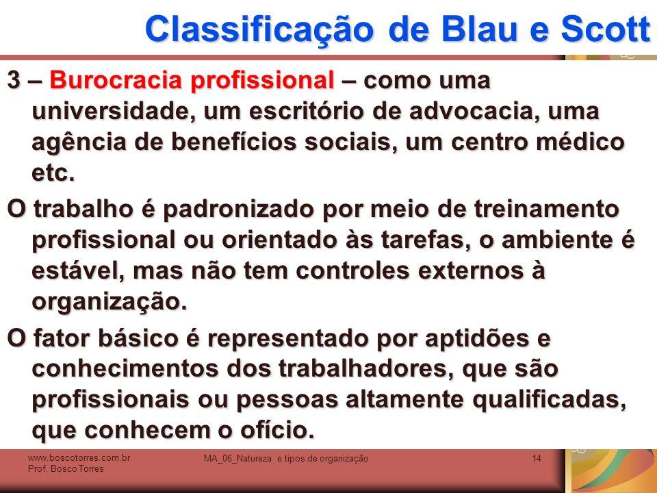 Classificação de Blau e Scott 3 – Burocracia profissional – como uma universidade, um escritório de advocacia, uma agência de benefícios sociais, um c