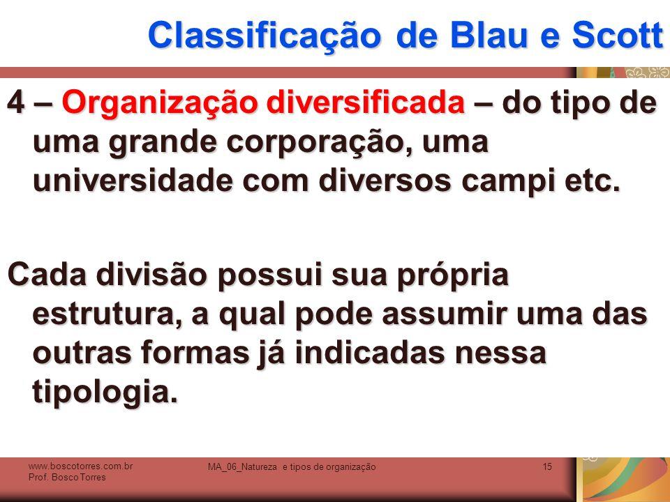 Classificação de Blau e Scott 4 – Organização diversificada – do tipo de uma grande corporação, uma universidade com diversos campi etc. Cada divisão