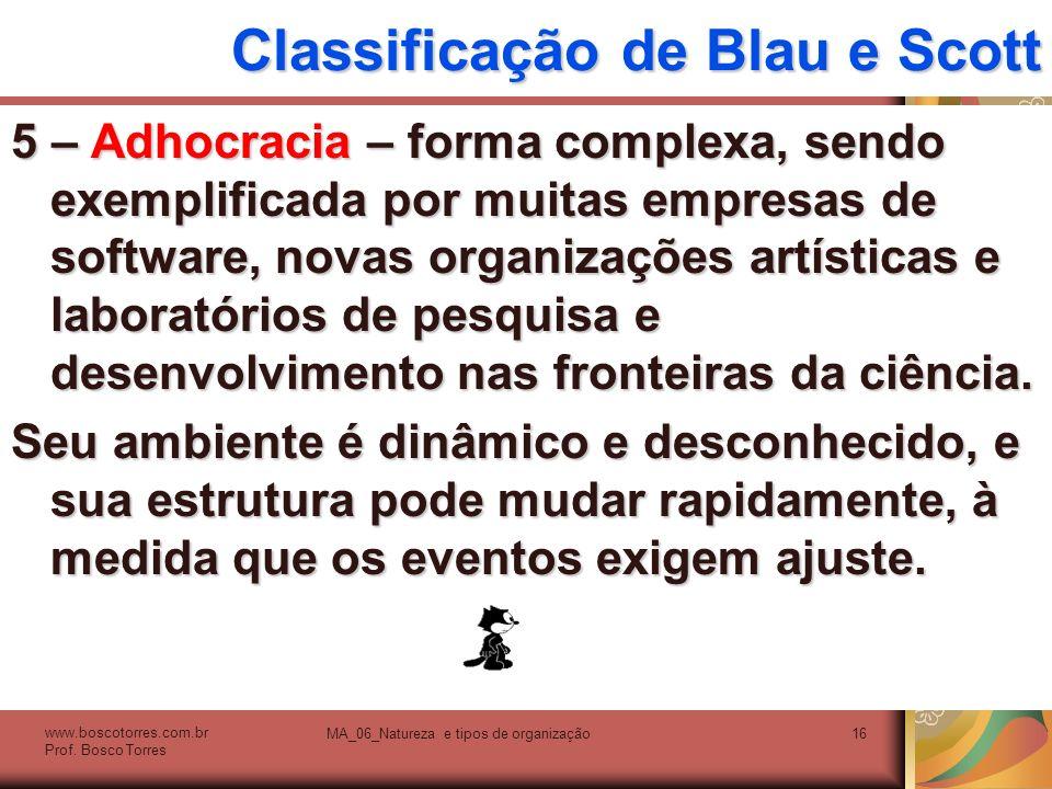 Classificação de Blau e Scott 5 – Adhocracia – forma complexa, sendo exemplificada por muitas empresas de software, novas organizações artísticas e la