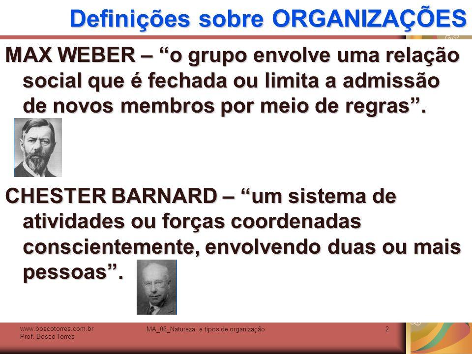 Definições sobre ORGANIZAÇÕES MAX WEBER – o grupo envolve uma relação social que é fechada ou limita a admissão de novos membros por meio de regras. C
