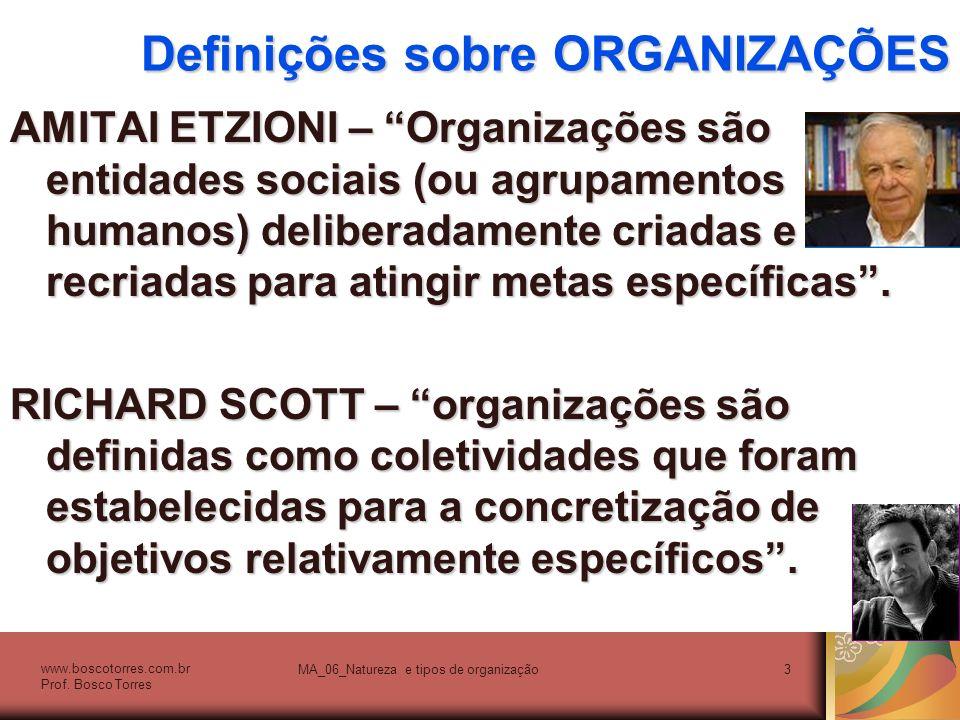 Definições sobre ORGANIZAÇÕES RICHARD HALL – Uma organização é uma coletividade com uma fronteira relativamente identificável, uma ordem normativa (regras), níveis de autoridade (hierarquia), sistemas de comunicação e sistemas de coordenação dos membros (procedimentos); essa coletividade existe em uma base relativamente contínua, está inserida em um ambiente e toma parte de atividades que normalmente se encontram relacionadas a um conjunto de metas; as atividades acarretam consequências para os membros da organização, para a própria organização e para a sociedade.
