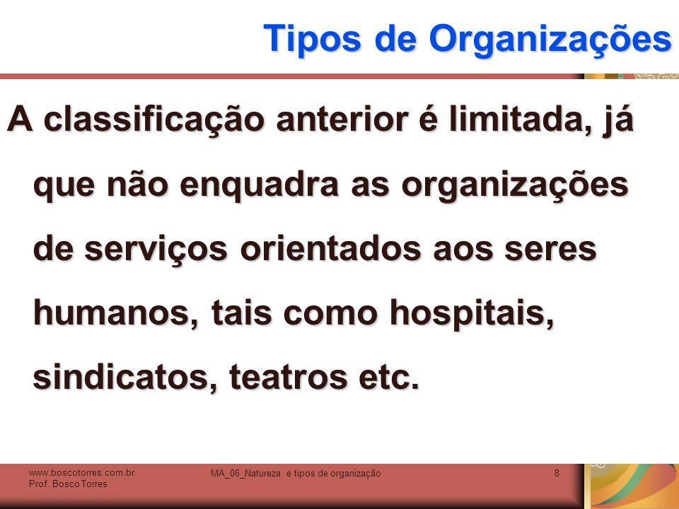 Tipos de Organizações A classificação anterior é limitada, já que não enquadra as organizações de serviços orientados aos seres humanos, tais como hos