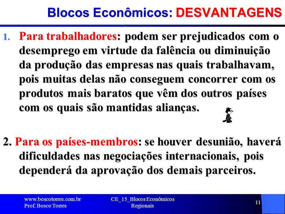 Blocos Econômicos: DESVANTAGENS 1. Para trabalhadores: podem ser prejudicados com o desemprego em virtude da falência ou diminuição da produção das em
