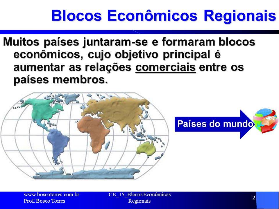 CE_15_Blocos Econômicos Regionais 2 Blocos Econômicos Regionais Muitos países juntaram-se e formaram blocos econômicos, cujo objetivo principal é aumentar as relações comerciais entre os países membros.