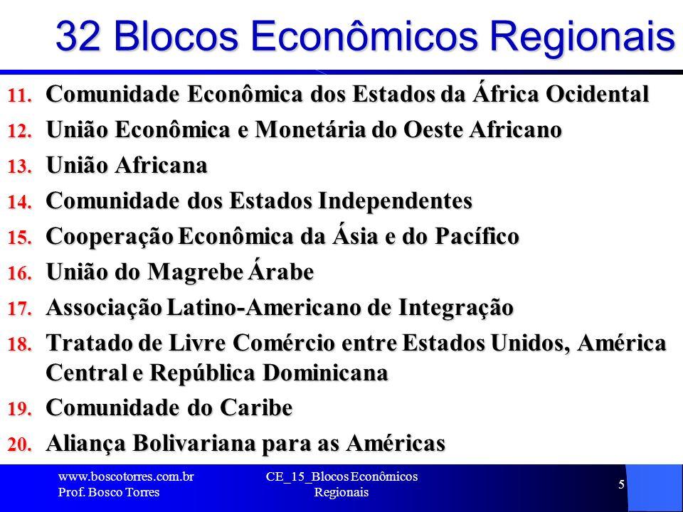 32 Blocos Econômicos Regionais 11. Comunidade Econômica dos Estados da África Ocidental 12. União Econômica e Monetária do Oeste Africano 13. União Af