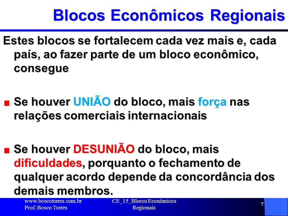 7 Blocos Econômicos Regionais Estes blocos se fortalecem cada vez mais e, cada país, ao fazer parte de um bloco econômico, consegue Se houver UNIÃO do