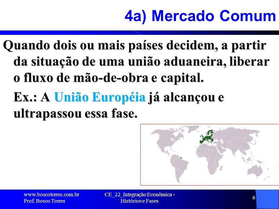 CE_22_Integração Econômica - Histórico e Fases 6 4a) Mercado Comum Quando dois ou mais países decidem, a partir da situação de uma união aduaneira, liberar o fluxo de mão-de-obra e capital.