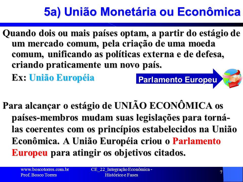 CE_22_Integração Econômica - Histórico e Fases 7 5a) União Monetária ou Econômica Quando dois ou mais países optam, a partir do estágio de um mercado comum, pela criação de uma moeda comum, unificando as políticas externa e de defesa, criando praticamente um novo país.