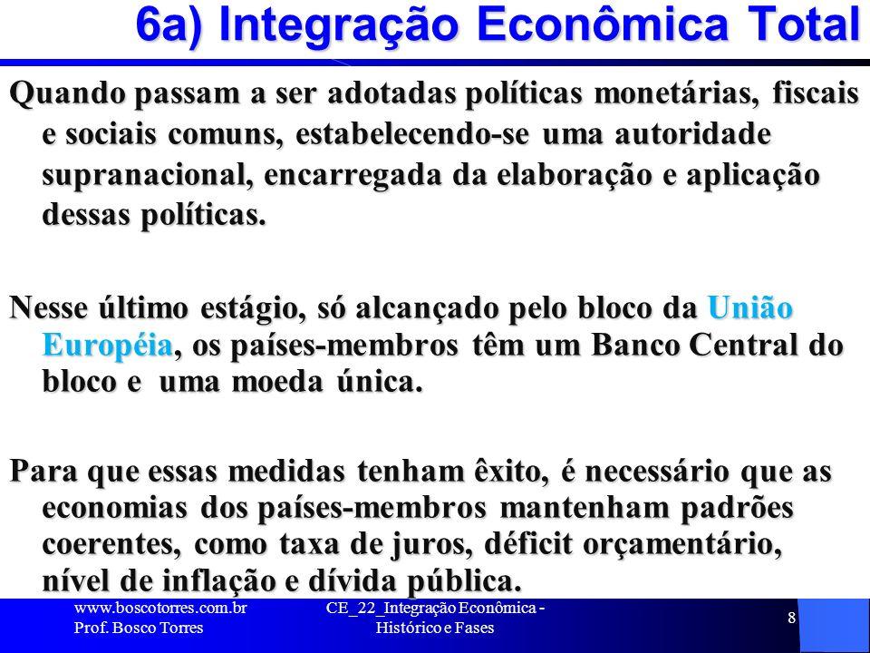 CE_22_Integração Econômica - Histórico e Fases 8 6a) Integração Econômica Total Quando passam a ser adotadas políticas monetárias, fiscais e sociais comuns, estabelecendo-se uma autoridade supranacional, encarregada da elaboração e aplicação dessas políticas.