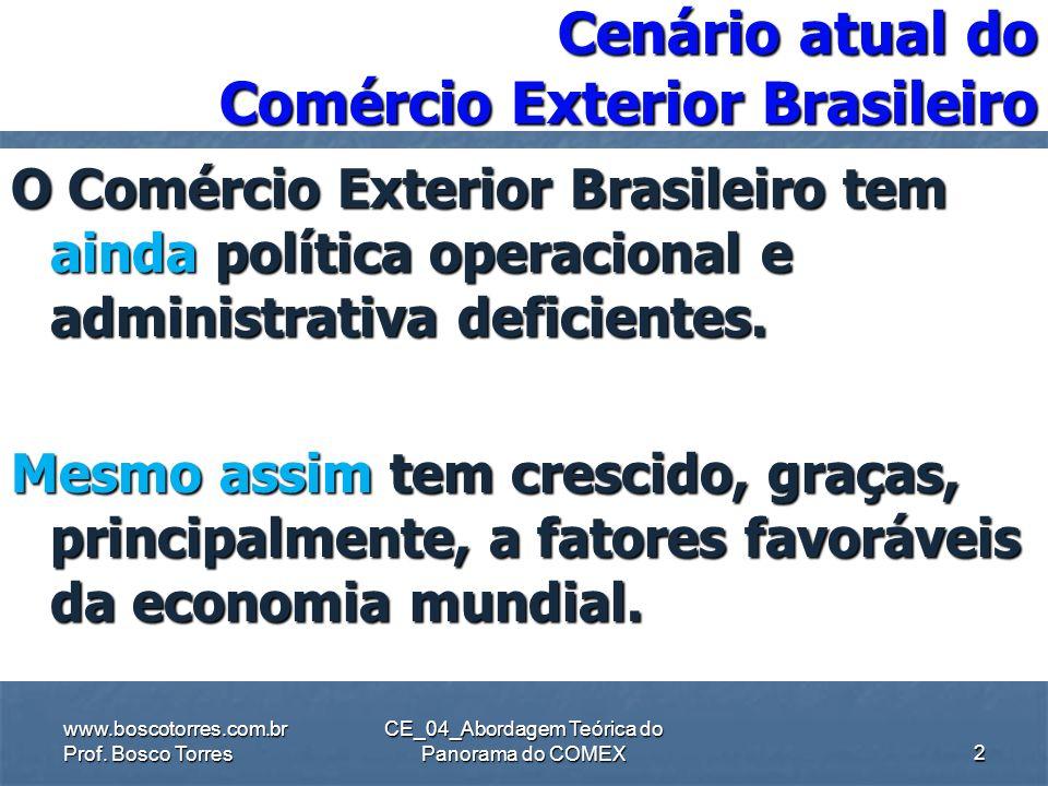 CE_04_Abordagem Teórica do Panorama do COMEX Cenário atual do Comércio Exterior Brasileiro O Comércio Exterior Brasileiro tem ainda política operacional e administrativa deficientes.