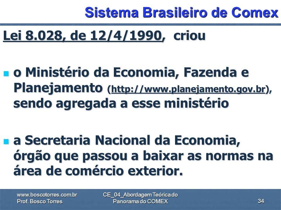 CE_04_Abordagem Teórica do Panorama do COMEX Sistema Brasileiro de Comex Lei 2.145, de 29-12-1953 Criou a Carteira de Comércio Exterior (CACEX) do Ban