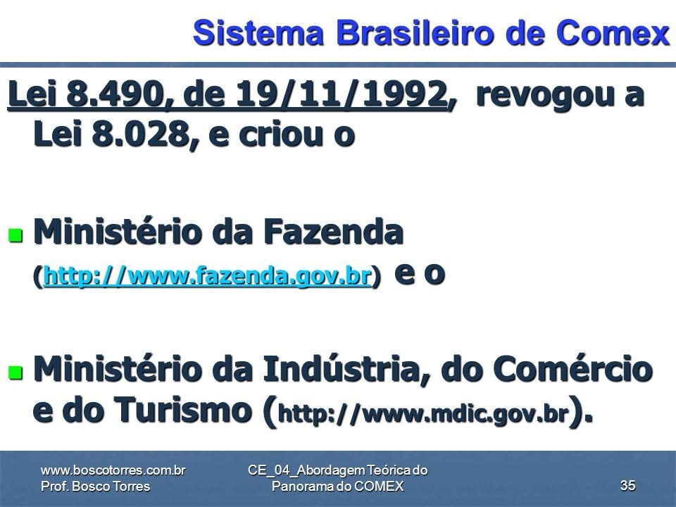 CE_04_Abordagem Teórica do Panorama do COMEX Sistema Brasileiro de Comex Lei 8.028, de 12/4/1990, criou o Ministério da Economia, Fazenda e Planejamen
