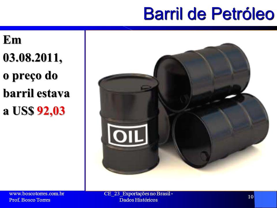 Barril de Petróleo Em03.08.2011, o preço do barril estava a US$ 92,03 www.boscotorres.com.br Prof.