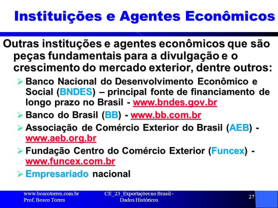 27 Instituições e Agentes Econômicos Outras instituções e agentes econômicos que são peças fundamentais para a divulgação e o crescimento do mercado exterior, dentre outros: Banco Nacional do Desenvolvimento Econômico e Social (BNDES) – principal fonte de financiamento de longo prazo no Brasil - www.bndes.gov.br Banco Nacional do Desenvolvimento Econômico e Social (BNDES) – principal fonte de financiamento de longo prazo no Brasil - www.bndes.gov.brwww.bndes.gov.br Banco do Brasil (BB) - www.bb.com.br Banco do Brasil (BB) - www.bb.com.brwww.bb.com.br Associação de Comércio Exterior do Brasil (AEB) - www.aeb.org.br Associação de Comércio Exterior do Brasil (AEB) - www.aeb.org.br www.aeb.org.br Fundação Centro do Comércio Exterior (Funcex) - www.funcex.com.br Fundação Centro do Comércio Exterior (Funcex) - www.funcex.com.br www.funcex.com.br Empresariado nacional Empresariado nacional CE_23_Exportações no Brasil - Dados Históricos www.boscotorres.com.br Prof.