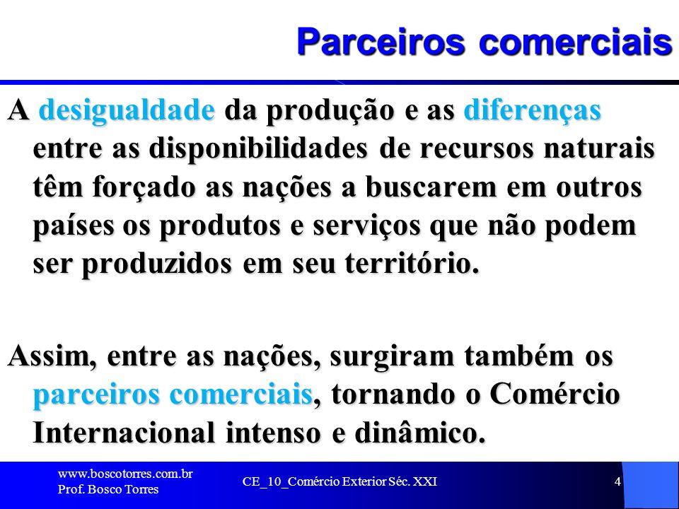 CE_10_Comércio Exterior Séc. XXI4 Parceiros comerciais A desigualdade da produção e as diferenças entre as disponibilidades de recursos naturais têm f