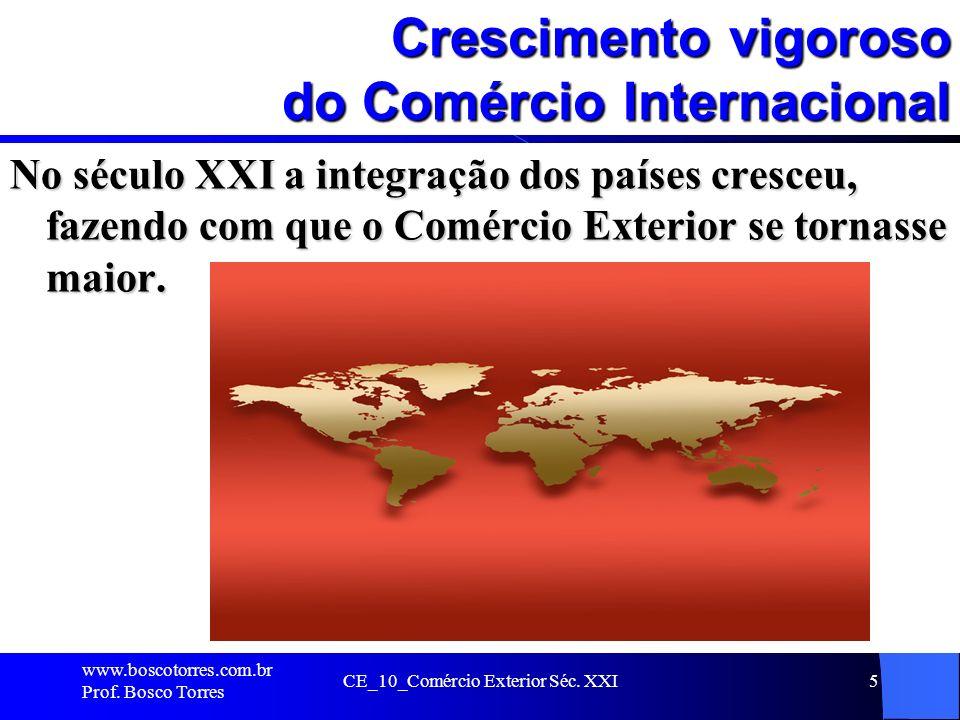 CE_10_Comércio Exterior Séc. XXI5 Crescimento vigoroso do Comércio Internacional No século XXI a integração dos países cresceu, fazendo com que o Comé