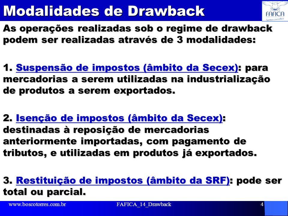 Modalidades de Drawback As operações realizadas sob o regime de drawback podem ser realizadas através de 3 modalidades: 1.