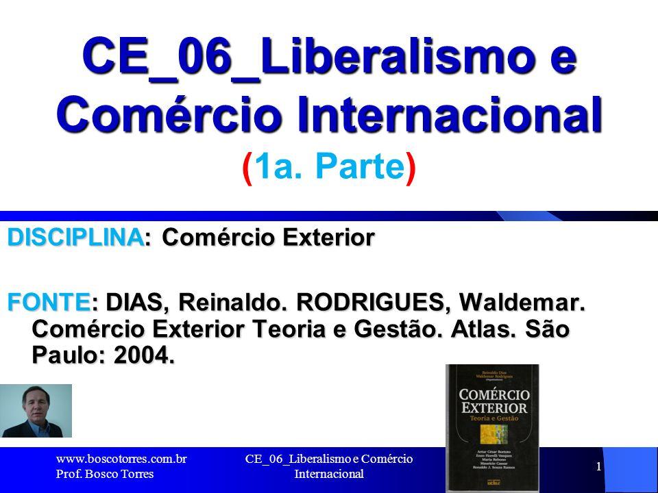 CE_06_Liberalismo e Comércio Internacional 1 CE_06_Liberalismo e Comércio Internacional (1a. Parte) DISCIPLINA: Comércio Exterior FONTE: DIAS, Reinald