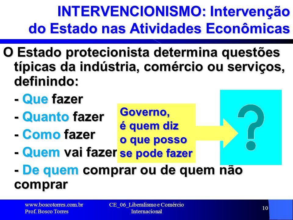 CE_06_Liberalismo e Comércio Internacional 10 INTERVENCIONISMO: Intervenção do Estado nas Atividades Econômicas O Estado protecionista determina quest