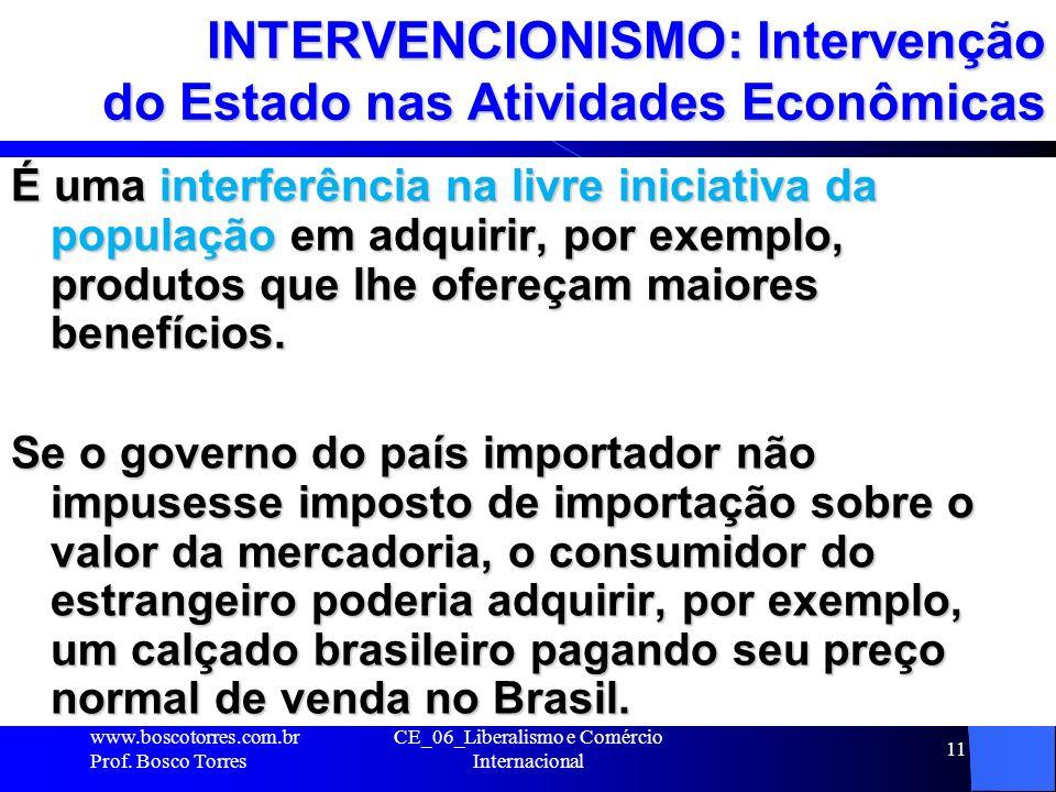 CE_06_Liberalismo e Comércio Internacional 11 INTERVENCIONISMO: Intervenção do Estado nas Atividades Econômicas É uma interferência na livre iniciativ