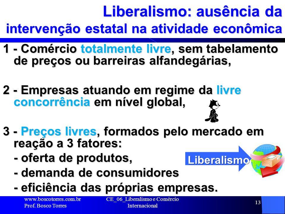 CE_06_Liberalismo e Comércio Internacional 13 Liberalismo: ausência da intervenção estatal na atividade econômica 1 - Comércio totalmente livre, sem t