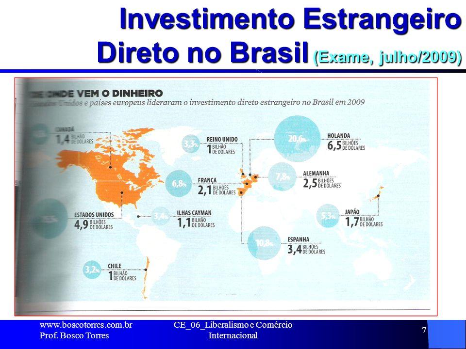 Investimento Estrangeiro Direto no Brasil (Exame, julho/2009). www.boscotorres.com.br Prof. Bosco Torres CE_06_Liberalismo e Comércio Internacional 7