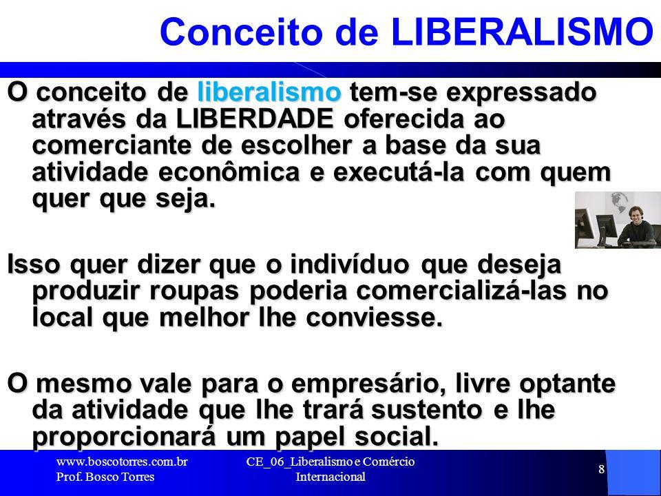 8 Conceito de LIBERALISMO O conceito de liberalismo tem-se expressado através da LIBERDADE oferecida ao comerciante de escolher a base da sua atividad